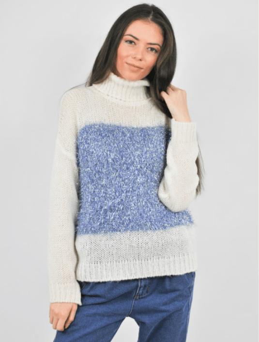 Puloverul tricotat cu guler alb